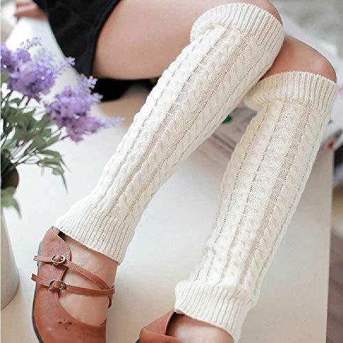 Calentadores De Piernas Para Mujer Cálido Hasta La Rodilla Tejido De Invierno Sólido Crochet Calentador De Piernas Calcetines Cálidos Puños Para Botas Calientes Calientes Calcetines Largos Blanco