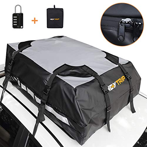 Heytrip Waterproof Roof Cargo Carrier with Waterproof Zipper, 6 Door Hooks, Combination Lock, Storage Bag (15 Cubic Feet, Fits All Cars with/Without Rack)