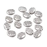 Fashewelry 50Pcs Antique Silver Oval with Leaf Spacer Beads 14x10mm Tibetan Metal Tree Branch Pattern Charm Beads for Jewelry Making Hole: 1.5mm Lead Free Cadmium Free Nickel Free