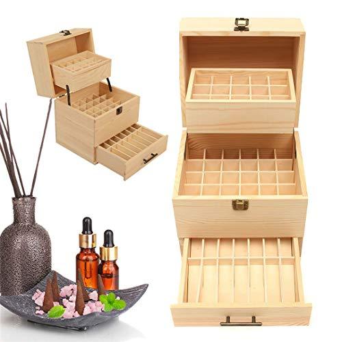RoseFlower Caja de Almacenaje de Madera de Aceites Esenciales y Aromaterapia, 59 Botellas Aceite Contenedor Cubos de Almacenaje Organizadores para Perfumes, Fragancias, CosméTica, Joyas