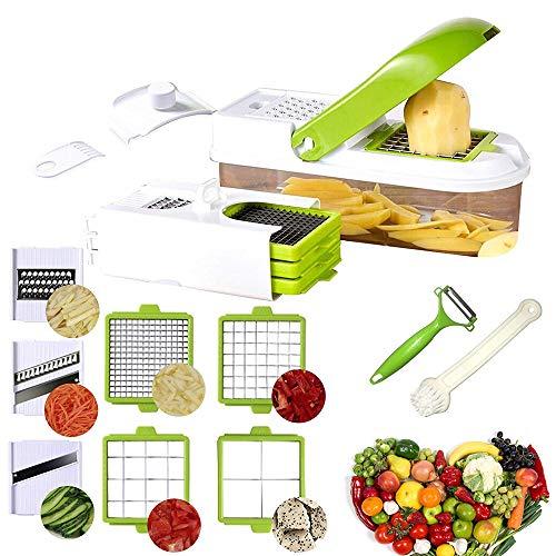 Mandoline 9 en 1 Multifonction Professionnelle Couper les Legumes Fruit,7 Lames Différentes Couteau en Acier Inoxydable Interchangeables Utilisation,Slicer pour Fromage,Concombre,Oignons,Tomates
