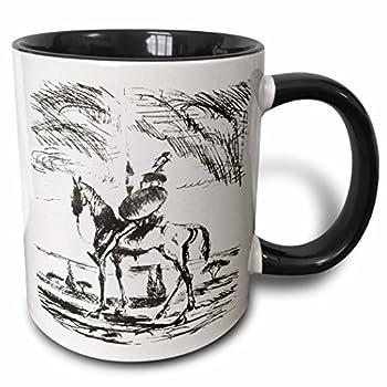 3dRose mug_78688_4 Don Quixote- don quixote spanish literature novel fiction fictional spanish people man  Two Tone Black Mug 11 oz Multicolor