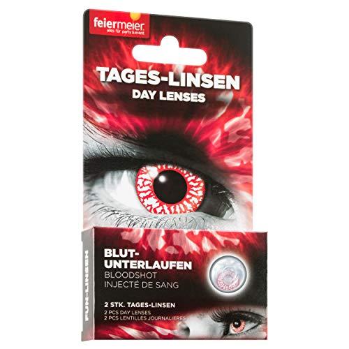 feiermeier® farbige Kontaktlinsen (Tageslinsen) ohne Stärke (1 Paar = 2 Stk.) - für Halloween, Cos-Play & Co. (Rot Blutunterlaufen)