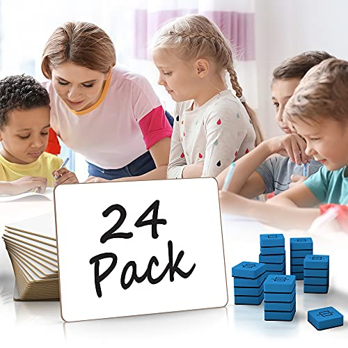 """Scribbledo 24 Pack Dry Erase White Board Class Pack 9""""X 12"""" Dry Erase Lap Boards, Single Sided Small White Boards for Students Teachers Kids & Classroom - 24 Whiteboard Erasers Included"""