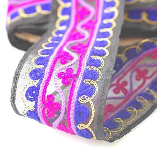 The Yard Neotrims Ruban indien délicat en gaze de coton de style Cornelli Base noire ou blanche avec bordure brodée et fil métalliques/dorés Largeur 4 cm