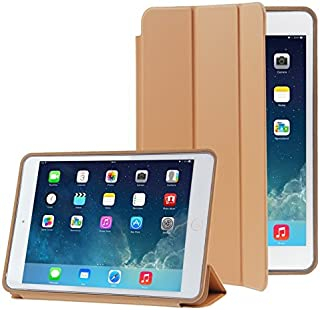 LFPING New 3-Folding Naturally Treated Leather Smart Case with Sleep/Wake-up Function & Holder for iPad Air (Color : Brown)