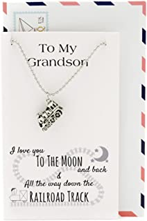 Quan Jewelry Train Pendant Necklace, Gifts for Grandson, Handmade Charm Graduation Gift, Comes with I Love You to The Moon...