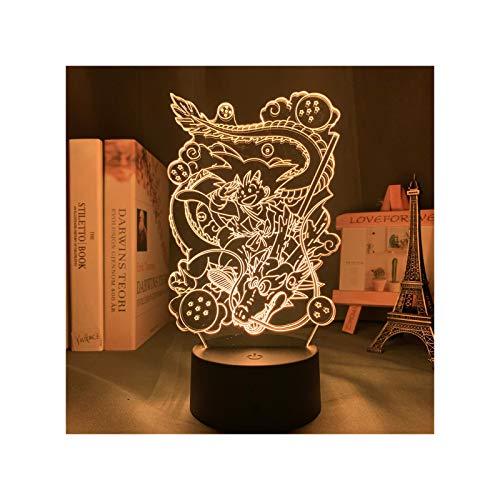 HOKVJ Lámpara De Luz De Noche Acrílica De Anime Young Goku para Decoración De Dormitorio Infantil, Luz Nocturna Que Cambia De Color, Lámpara Led 3D, Regalo