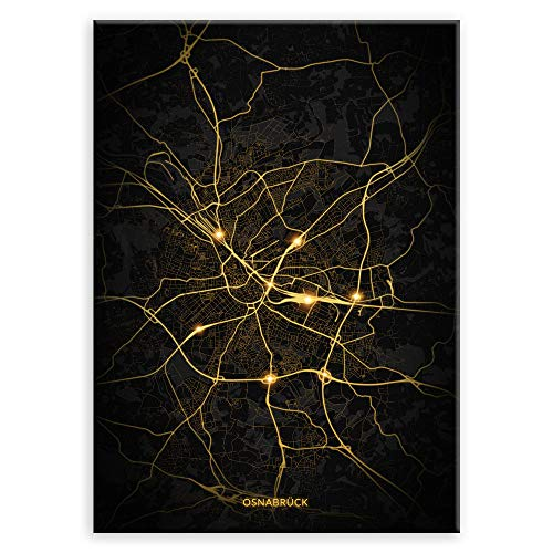 Murrano Poster Wandbilder Deko Wohnzimmer - Städte - zur Selbstmontage mithilfe eines Magnets montiert - aus Metall - City Lights - Osnabrück - 45 x 32 cm