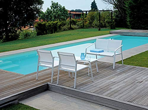 Grupo Maruccia - Salón para Exteriores, líneas Modernas, Cuatro plazas, con Mesa Auxiliar para decoración de jardín, sofá, para Jardines y Actividades comerciales