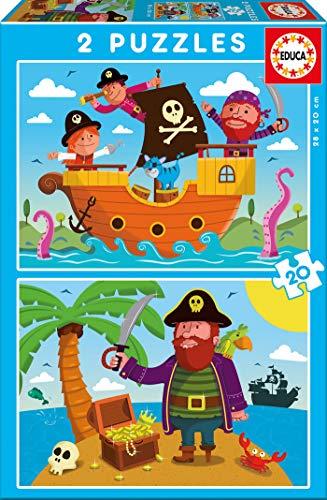 Educa - Piratas 2 Puzzles de 20 Piezas, Multicolor (17149)