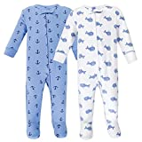 Hudson Baby Unisex Baby Cotton Sleep and Play, Blue Whales, 6-9 Months