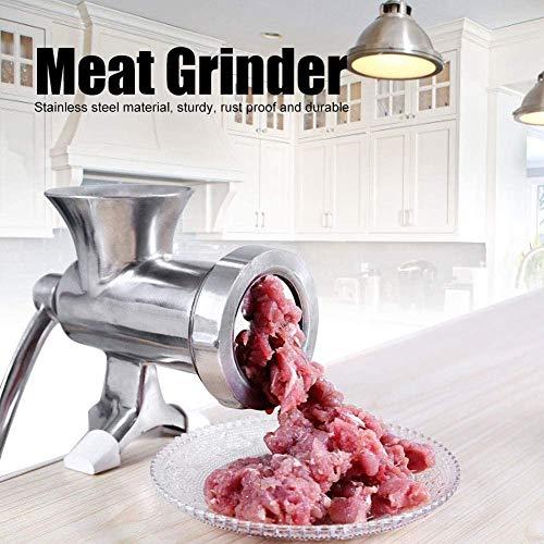 JUANstore Picadora De Carne Manual, Acero Inoxidable Cabrestantes Manual Meat Grinder Mincer Molinillo De Especias para La Carne,Plata