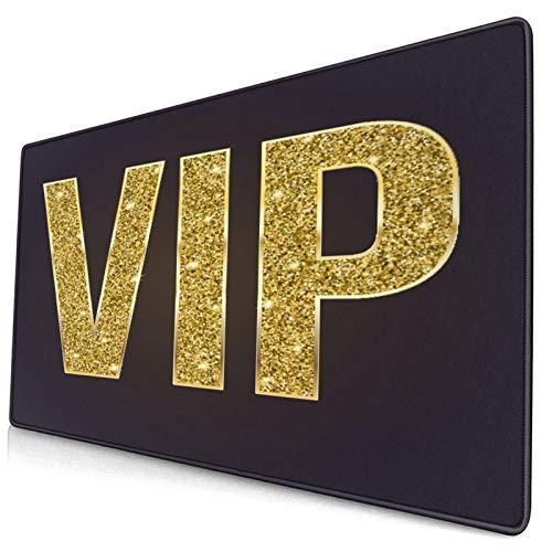 Großes dekoratives Gaming-Mauspad,Goldenes Symbol der Exklusivität Das Label VI,lange Computermausmatte mit rutschfester Gummibasis für Büro/Spiele/Zuhause