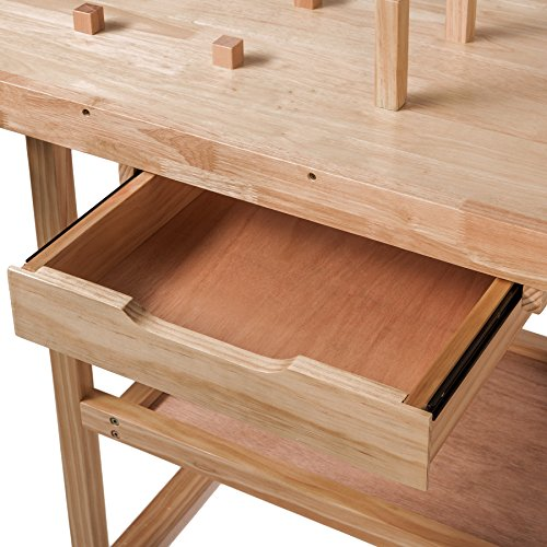 TecTake Workbench 117 x 47,5 x 83 cm Wood Timber Workshop Wooden Work Working Bench Table by TecTake - 7