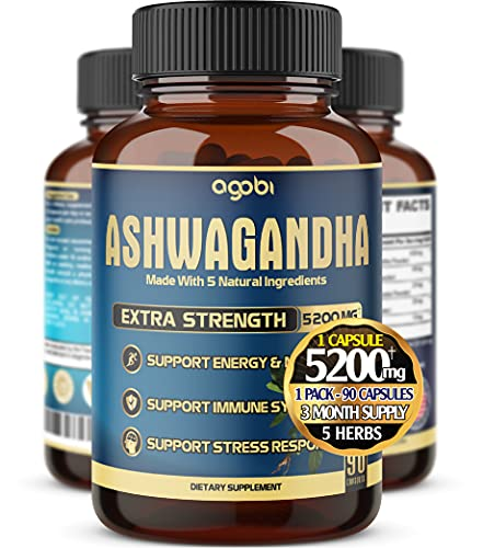 Ashwagandha Extract Capsule - Great Strength 5200mg of Powder. Blended Ginger Root, Turmeric Curcumin, Rhodiola Rosea Root and Black Pepper - 90 Capsules - 3 Month Supply