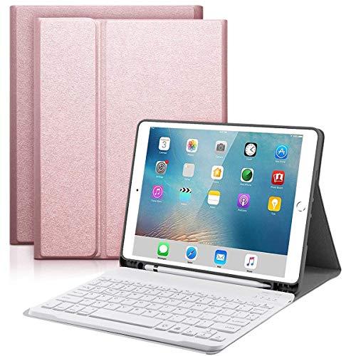 YingStar Teclado con Funda para iPad 9.7 2018 6 Generación/iPad 9.7 2017 5 Generación/iPad Air 1 / iPad Air 2 / iPad Pro 9.7 Español Ñ Teclado Bluetooth Inalámbrico Desmontable Carcasa con Soporte