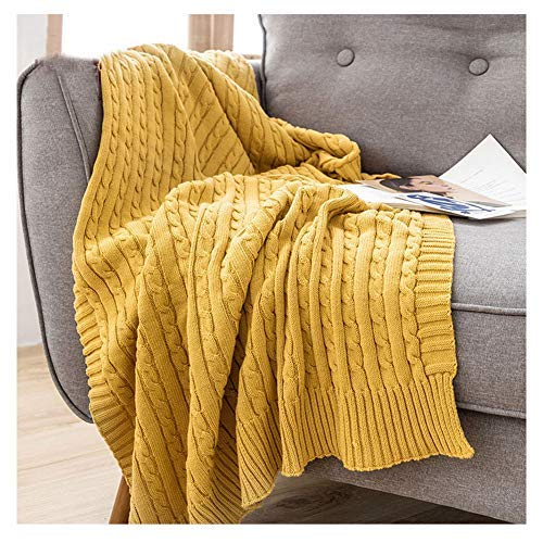 ZTMN Chunky Knit Throw, Solid Sofa Throws, Soft Large Knitted Throw Blanket für Sofa Couch Lemon Yellow 180 * 200cm