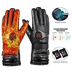 Electric heated glove leather, 7.4V 4000mAh rechargeable battery, 3 levels adjustable temperature, quick and long heating, winter waterproof windproof warm gloves men women