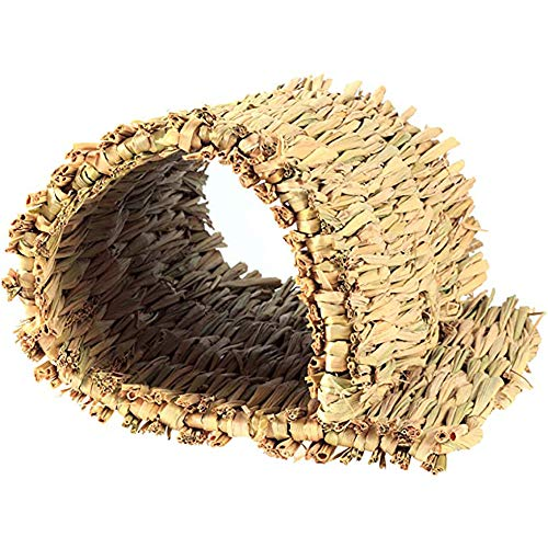 DEDC 4 pcs Alfombra de Hierba Tejida a Mano Natural, Cama de Juguete Masticable para Mascotas Pequeñas, Seguro y Comestible, para Indias, Conejos, Perros, Chinchillas y Hámster