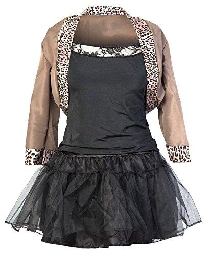 Emmas Wardrobe Kostüm Damen 80er Jahre | Beinhaltet Jackett, schwarzes Top, schwarzen Rock, Haarband und Handschuhe | EU Größen 36-42 | Madonna Kostüm oder 80er Frauen Kostüm (40)