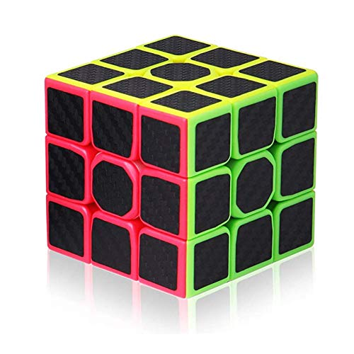 Vdealen 3x3x3 Cube Carbon Fiber Sticker Magic Cube- Smooth Puzzle Cube Toy for Kids & Adults