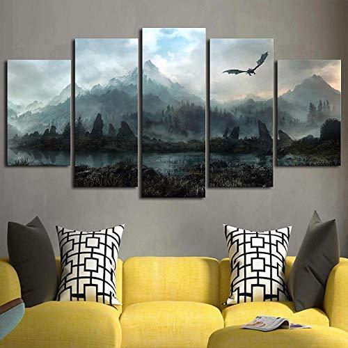 Lienzo Cuadros de arte de pared Decoración para el hogar 5 piezas Juego de tronos Dragón Skyrim Pinturas para sala de estar Impresiones modulares Póster + Cuadro de arte de pared en lienzo Decora