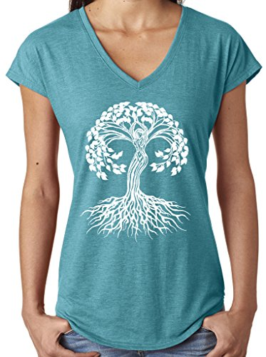 Yoga Clothing For You Ladies White Celtic Tree V-Neck Tee, XL Heather Galapagos Blue