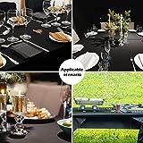 Puricon1.37x33 Meterware Einweg Tischdecke Rolle mit Clip aus Plastik,Frei schneidbar Wasserdicht Wachstuch Rolle (12Stück) Abwaschbar Tischtuch für Garten Buffet Party Hochzeit, Camping -Schwarz - 5