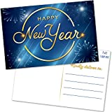 50 Happy New Year Postcards - Blue and Faux Gold Cards Set for New Years - Bulk Blank Holiday Greeting and Thank You Notes for Business, Clients, New Year's Eve Party Invitations and More