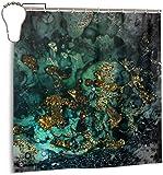 N/A Gold Indigo Malachit Marmor Duschvorhang Wasserdicht Polyester Duschvorhang Schimmelresistent Anti-Schimmel Badezimmer Duschvorhang Haken mit 12 Stück 180 x 180 cm