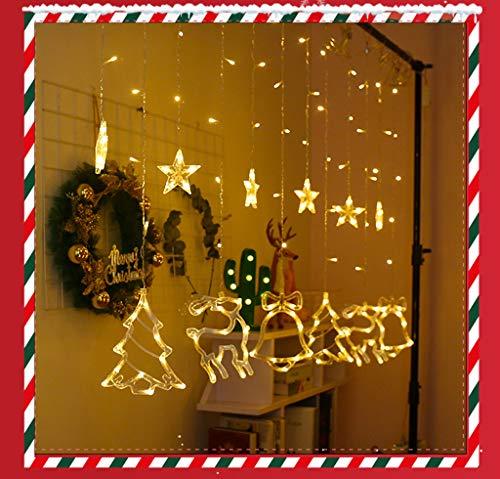 Guirnalda de luces con bolas LED, 12 estrellas, 138 luces, 8 modos, para interior y exterior, resistente al agua, decoración para Navidad, fiesta (amarillo)