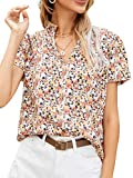 Milumia Women Elegant Ditsy Floral Print Notch Neck Short Sleeve Blouse Summer Tops Multicolored Large