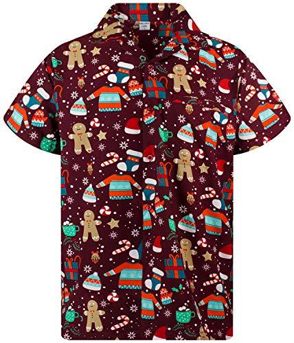 Funky Hawaiihemd Weihnachten, Christmas Gingerbread, rot, XS