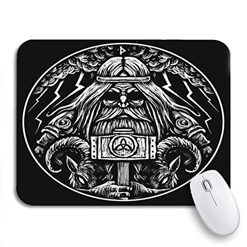 Gaming Mouse Pad Viking Norse God Thor Hammer and Two War Goats 9.5'x7.9' Nonslip Rubber Backing Computer Mousepad for Notebooks Mouse Mats
