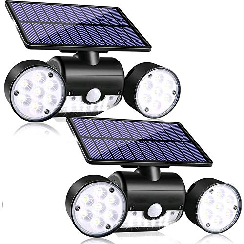Motion Sensor Light Outdoor, 30 LED Solar Security Light with Motion Sensor Dual Head Spotlights IP65 Waterproof 360