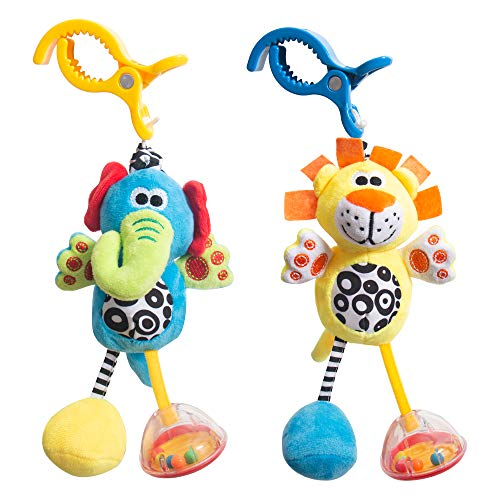 Baby Hanging Rattle Toys - Handbells Stroller Toys - Newborn Crib Car Seat Toys - 3 6 9 12 Months Baby Rattles - Infant Gift - Sensory Educational Toys - Toddler Plush Animal - Wind Chime 2 Pack