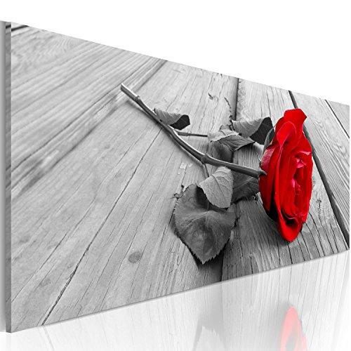 murando - Bilder Blumen Rose 120x40 cm Vlies Leinwandbild 1 TLG Kunstdruck modern Wandbilder XXL Wanddekoration Design Wand Bild - Liebe rot grau b-B-0026-b-a