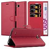 Cadorabo Funda Libro para LG X Power 2 en Rojo CARMÍN - Cubierta Proteccíon con Cierre Magnético, Tarjetero y Función de Suporte - Etui Case Cover Carcasa