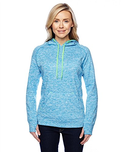 Ladies Pullover Hooded Sweatshirt, Blue/Green, Small