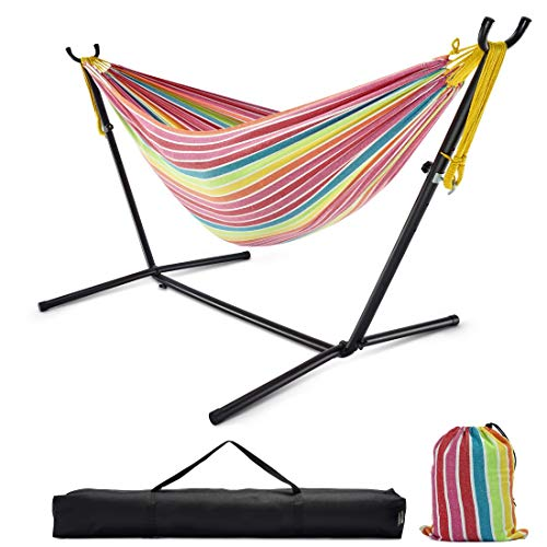 Double Hammock with Stand, 10ft Hammock Frame 550lbs Capacity, 2 People Hammock Combo for Backyard Patio Indoor Outdoor (Multi-Color)