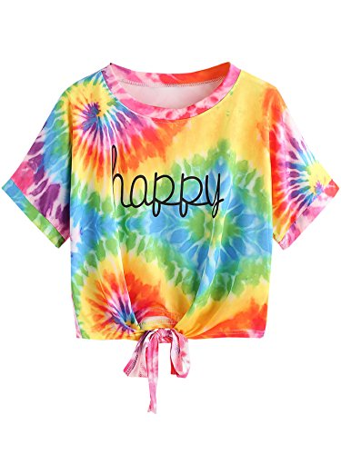 SweatyRocks Women's Loose Short Sleeve Summer Crop T-shirt Tops Blouse Tie Dye#3, Medium