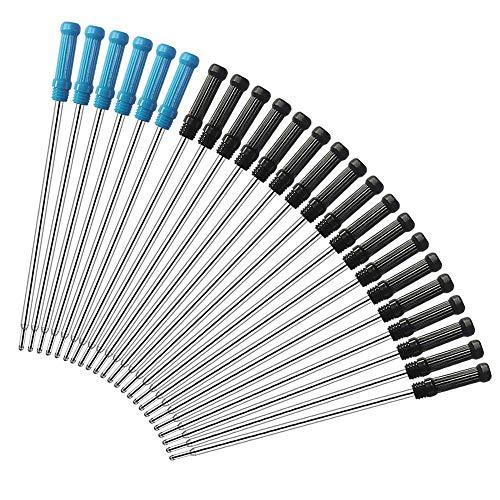 FYSL 24 Stück Austauschbare Kugelschreiberminen Glattes Schreiben Kugelschreiber Nachfüllungen 4,5 Zoll (11,6 cm) und 1 mm Medium Tip(18 Stück schwarz+6 Stück blau)