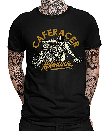 Biker Caferacer Motorcycle Bike Motorrad Motorradfahren Chopper Rider Moped Rocker Metal Racer Herren Männer T-Shirt