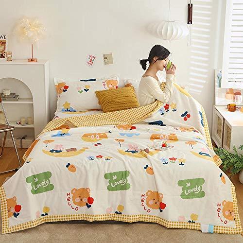 Meet Beauty Edredón de algodón de 4 Piezas Añadir Dos pillowcasas Impresas de algodón Verano Edredón Fresco Antipolvo, Antibacteriano, Anti-Olor-Metro_180x220cm