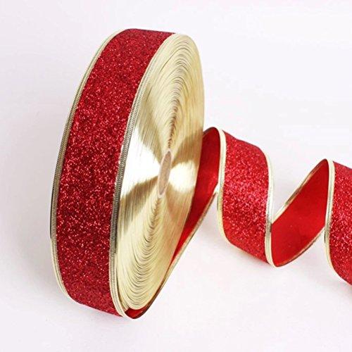 Pixnor Ruban rouge paillettes pour décor de sapins de Noël (rouge)