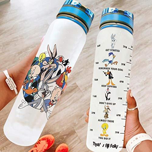 O5KFD&8 Divertida botella de agua deportiva con diseño de animales, antigoteo, perfecta para camping, color blanco, 1000 ml
