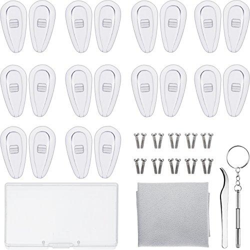 Brillen Reparatur Set 10 Paar Luftkammer Nasenpads Silikon Schraubbrillen Nasenpads mit Schrauben Pinzette und Reinigungstuch (15 mm)