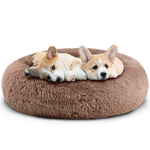 Small Dog Cat Bed - Comfortable Donut Calming Dog Bed, Ultra Soft Washable Dog Bed for Small Dogs & Cats