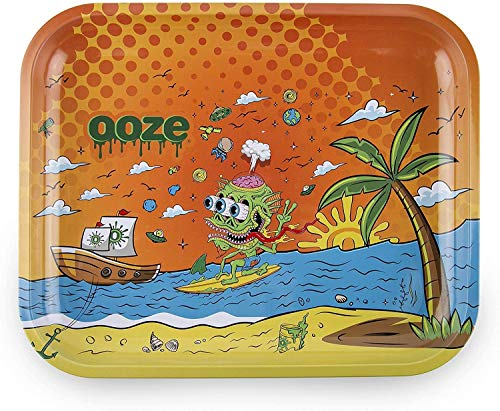 "Ooze - Metal Rolling Tray - Large 14""x12"" - Rolling Tray - Ashtray - Rolling Tobacco Tray - Dry Herb - Tobacco Accessories (High Tide)"